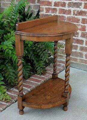 Antique English Oak BARLEY TWIST Table Nightstand Hall Table DEMI LUNE End Table