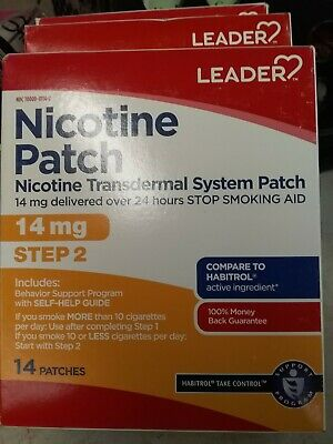 NEW LEADER Nicotine Patch Step 2: 14mg, 14 Patches, Exp 02/2020