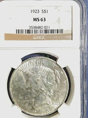 1923-P Peace Silver Dollar NGC MS 63 UNC BU Brilliant Uncirculated Super P Mint