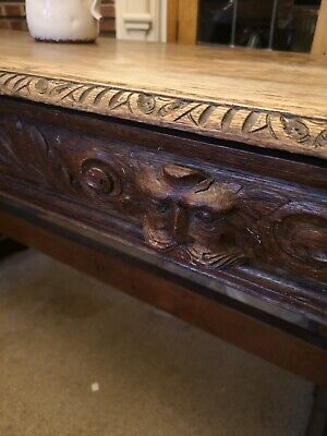 Antique Oak Green Man Writing / Hall table.