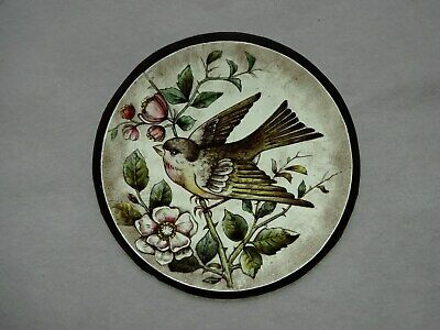 Beautiful Stained glass.BIRD.Hand painted.Kiln fired.Diameter-150mm.Antique st.