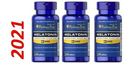 Melatonina 3mg per Dormire la Notte Pillole 3 x 240=720 Compresse USA in Fresco