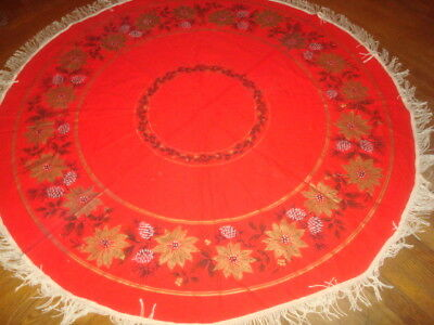 """Vintage Round Christmas Tablecloth 60""""  Red & Gold Pointsettia Print Fringe"""