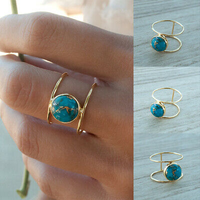 Women's Exquisite 18k Gold Round Large Turquoise Ring Wedding Jewelry Size 6-10