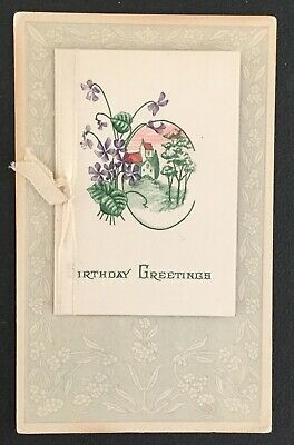 Vintage Birthday Greeting Postcard Fold Out Landscape And Flowers