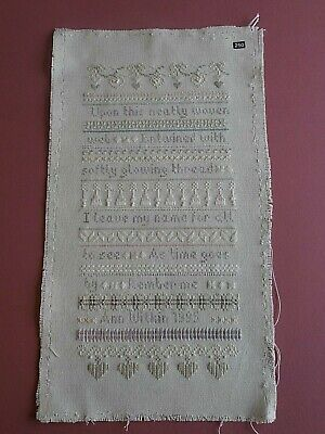 Completed Cross Stitch vintage sampler pastel saying nicely sewn on linen