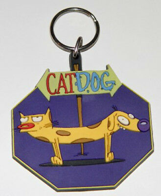 CatDog Keychain Rare 1998 Cat Dog Collectible Silicone Rubber Nickelodeon Viacom