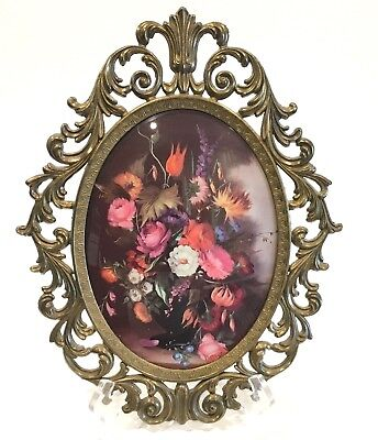 """Vintage Ornate Oval Convex Bubble Glass Brass Picture Floral Italy Lg 13-1/2"""""""