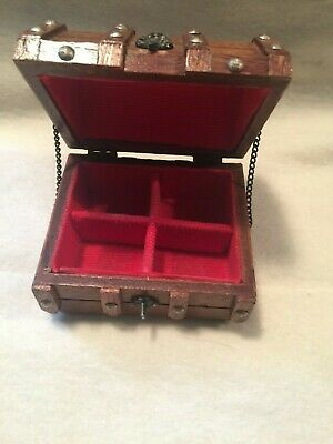 Small Vintage Wooden Treasure Chest Box Jewelry Trinket No Catch