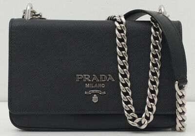 69320f6bf5ba NEW ~ PRADA ~ Saffiano Soft Calf Chain Crossbody Bag Handbag Black ...