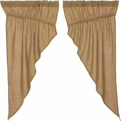 VHC Brands Burlap Natural Prairie Swags Farmhouse Primitive Country Curtains