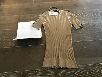 0462b1eed Gucci Nwt Whipstitched Tan Ribbed Viscose Stretch Extrafine Top Sz M W/  Receipt