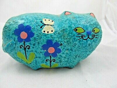 Vintage Trends Kitty Cat Turquoise Blue w/ Flowers Retro Money Coin Bank Japan