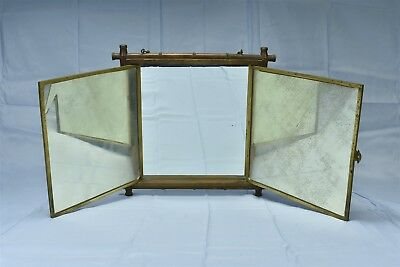 Antique 1876 3 WAY MIRROR WOOD FRAME BRASS FRAME HOLDING MIRRORS OLD #06592