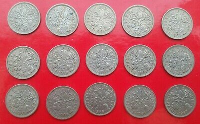 15 x QUEEN ELIZABETH, SIXPENCE PIECES,  from 1953 to 1967, 15 coins