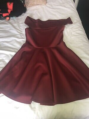 5a77f2a98f8f Boohoo Red Wine Off The Shoulder Skater Dress BNWT Size 16 Worn Once