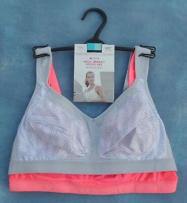 M/&S High Impact Sports Bra Pack 2 Reduce Bounce Size 32A D 34A  NEW TAGS
