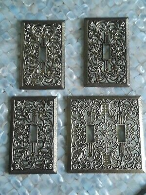 Vintage New Old Stock Lot 4 Hollywood Regency Gold Switch Plate Cover Dble Singl