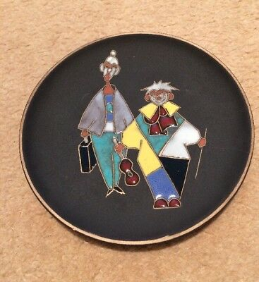 Ruscha Signed Mid Century Modern Clowns Plate Wall Hanging West German Pottery