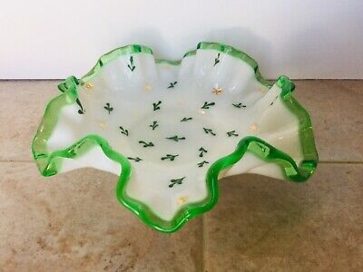 Vintage 1950's Fenton Emerald Crest Milk Glass Ruffled Painted Nut/Candy Dish