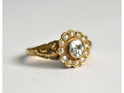 Exquisite late Georgian 18ct gold old mine cut diamond & pearl ring