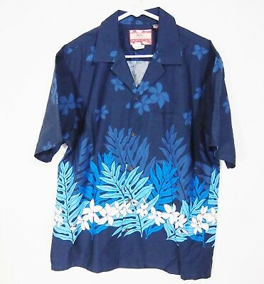 cfd5d41e NWOT RJC Mens Shirt L Collared Short Sleeve Button Navy Floral Hawaiian USA  Made