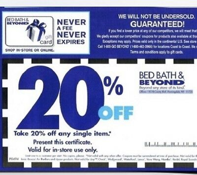 5 x Bed Bath & Beyond 20% Off Any Single Item COUPONS