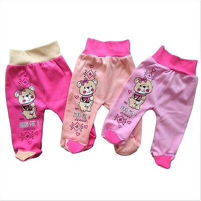 BNWT Baby Infant Lovely Girls Trousers with feet 100% Cotton 0-3/18-24 Months