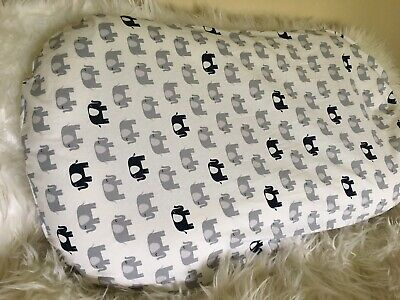 Snuggle Me Organic Slip Cover Baby Lounger Infant Size Navy Gray Elephant Boy