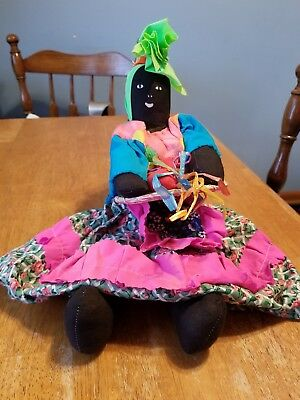 Vintage Sitting Cloth Doll Black Americana  Primitive,Hand Made, One Of A Kind
