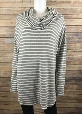 Maurices Womens Gray White Striped Long Sleeve Turtleneck Top Blouse 2 - 1800