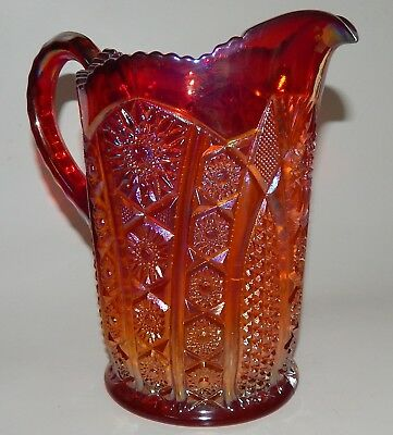 Heirloom Sunset Carnival Glass Iridescent Red Pitcher Vintage Indiana Glass 40oz