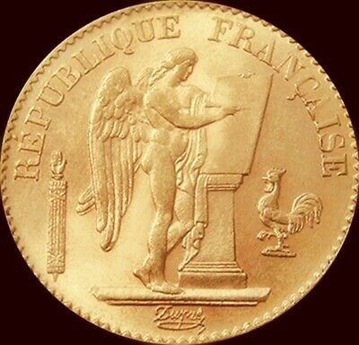 Scarce France 20 Francs 1896-A Gold Coin Au Angel