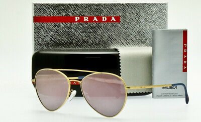 63b63e5d3f3b PRADA SPORT LINEA ROSSA PS50SS 1BK5T0 AVIATOR Brushed Gold Pink Mirror 57mm  Lens