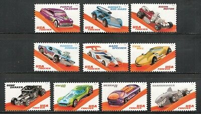 5321-30 Hot Wheels Set Of 10 US Postage Stamp Singles Mint/nh Free Shipping
