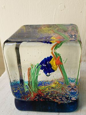 Italian Art Glass Latest Collection Of Murano Fish Cube Paperweight