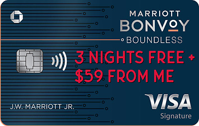 Marriott Bonvoy Boundless Chase Credit card (3 FREE NIGHTS + $59 FROM ME)