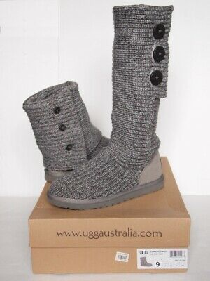 2cc412b09a1 UGG CARDY BOOTS Tall Lattice Teal Blue Sweater Knit Pull On Woman S ...