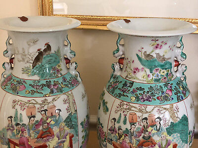 Antique Chinese Vases Pair Colorful Lamp Ready or Plant drainage