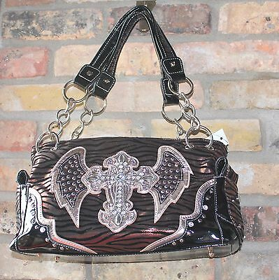 082f74988eb Zebra Print With Cross Shoulder Bag Rhinestones Outside Pockets Brown or  Silver