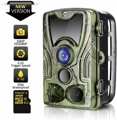 Trail Camera 16MP 1080P HD 2019 Upgraded IP66 Waterproof Game Camera with 120°