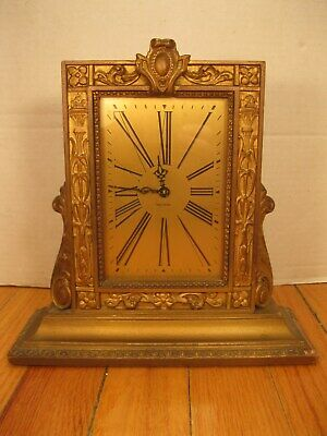 Vintage Art Deco Waltham 12 Jewel 8 Day Picture Frame Shelf Mantel Clock