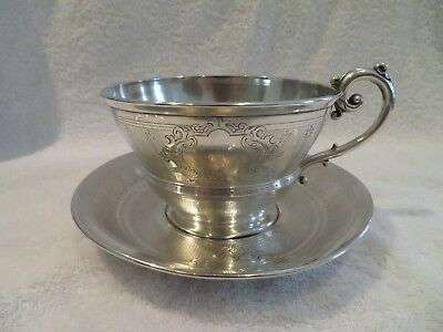 Gorgeous 1900 french sterling guilloche silver chocolate cup Louis XVI st