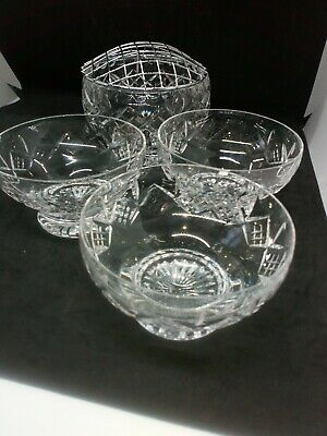 Vintage Heavy Cut Glass Flower Bowl