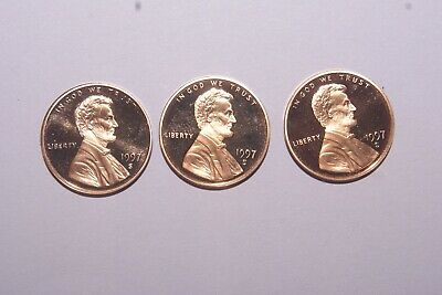 1997 S mint proof (3) coin lot of Lincoln memorial cents pennies