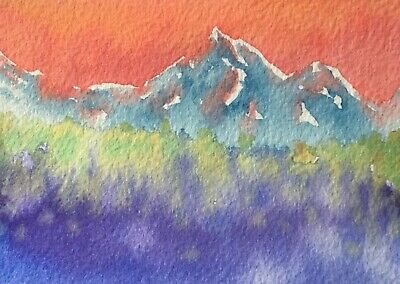 Original Watercolor Mountain Landscape Painting ACEO Art Card