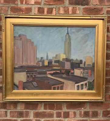 C1940's New York Modern School Painting Of New York City Empire State Building