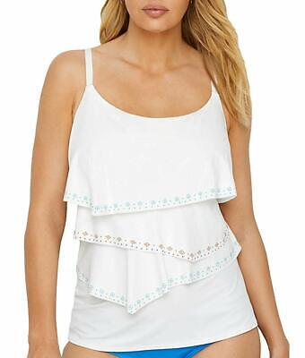 49f6c1303cf Coco Reef WHITE Hot Spots Aura Ruffle Underwire Tankini Swim Top, US 34D