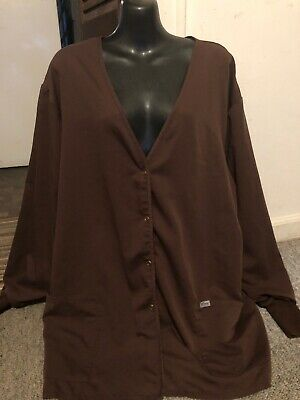 59186650778 womens scrub top jacket Xl brown greys anatomy style 7451 ladies awesome