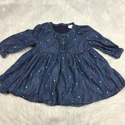 Baby Gap Girls Denim Multi Colored Embroidered Dot Dress Sz 12-18m